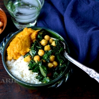 Butternut Squash Curry Puree With Sautéed Kale & Chickpeas